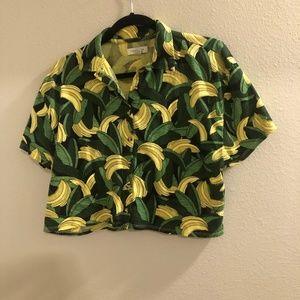 Bananas Cropped Hawaiian Shirt